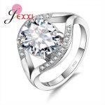 JEXXI Elegant 925 <b>Sterling</b> <b>Silver</b> Wedding <b>Ring</b> For Woman Fashion Band Jewelry AAA Austria Crystal Engagement <b>Rings</b> Bijoux Bague
