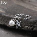 JINSE Innovative Romantic Cuff Open 925 <b>Sterling</b> <b>Silver</b> Lover <b>Rings</b> for Women Pearls & Star Charms Fine Jewelry 2.10mm 3.5G
