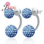 PATICO Candy Color Shinning Full Crystal CZ Double Ball Stud <b>Earrings</b> for Women 925 <b>Sterling</b> <b>Silver</b> Brincos Jewelry 10 Color