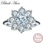 [BLACK AWN] Classic 4.0g 925 <b>Sterling</b> <b>Silver</b> Jewelry Big Flower Wedding <b>Rings</b> for Women Black Spinel Engagement <b>Ring</b> Bague C005