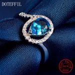 <b>Sterling</b> <b>Silver</b> Heart Love Blue Zircon <b>Rings</b> Women Fashion Charm <b>Rings</b> High Quality <b>Silver</b> Jewelry