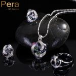 Pera Fashion 925 <b>Sterling</b> <b>Silver</b> Women 3 Pcs Jewelry Gift Rainbow Mystic Crystal Stone Necklace And <b>Earrings</b> Sets For Girls J097