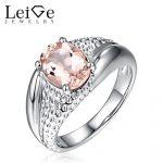 Leige Jewelry Morganite <b>Ring</b> Pink Gemstone Oval Cut Women Wedding Engagement <b>Sterling</b> <b>Silver</b> Promise <b>Ring</b> Anniversary Gift