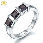 HUTANG 3-Stone Natural Black Garnet Solid 925 <b>Sterling</b> <b>Silver</b> <b>Ring</b> Gemstone Fine Jewelry Women's Christmas Gift