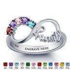 Personalized Engrave Birthstone Infinity <b>Ring</b> 925 <b>Sterling</b> <b>Silver</b> Cubic Zirconia Name <b>Ring</b> Engagement Wedding Gift(RI101787)