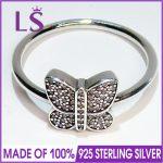 LS High Quality 100% Real 925 <b>Sterling</b> <b>Silver</b> Sparkling Butterfly <b>Ring</b> For Women DIY Fashion <b>Rings</b> 100% Fine Jewelry H