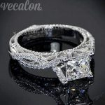 Vecalon 2016 Romantic Antique Female <b>ring</b> 2ct AAAAA Zircon Cz 925 <b>Sterling</b> <b>Silver</b> Engagement wedding Band <b>ring</b> for women