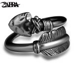 ZABRA Love Cupid's Arrows Vintage Genuine 925 <b>Silver</b> Men <b>Ring</b> Punk Big Black Adjustable Biker Mens <b>Rings</b> Male <b>Sterling</b> Jewelry