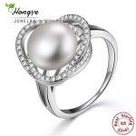 Hongye Female <b>Rings</b> Authentic 100% 925 <b>Sterling</b> <b>Silver</b> With Natural Freshwater Pearl For Women Finger <b>Ring</b> Charm Wedding Jewelry