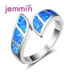 Jemmin High Quality Blue Fire Open <b>Ring</b> For Party Accessory Brand Geometric Shape Engagement <b>Sterling</b> <b>Silver</b> <b>Rings</b> For Woman