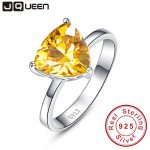 100% 925 <b>Sterling</b> <b>Silver</b> Natural Citrine <b>Rings</b> For Women Female Triangle <b>Ring</b> Finger Famous Original Jewelry Fine Jewelry