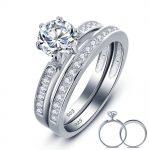 Wholesale 1 Ct Round Created Solid 925 <b>Sterling</b> <b>Silver</b> 2-Pc Bridal Wedding Engagement <b>Ring</b> Set For Women Jewelry YR0008
