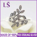 LS High Quality 100% Real 925 <b>Sterling</b> <b>Silver</b> Sparkling Leaves,Clear CZ <b>Ring</b> For Women Party&Wedding 100% Fine Jewelry H