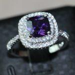 choucong 3ct purple 5A Zircon stone 925 <b>Sterling</b> <b>silver</b> Women Engagement Wedding Band <b>Ring</b> US Size 5-11 Gift