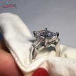 COLORFISH 4 Carat 925 <b>Sterling</b> <b>Silver</b> Baguette Three Stone <b>Rings</b> For Women Luxury Jewelry Sona Engagement Wedding Band <b>Ring</b> 2017