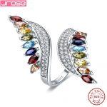 Jrose Butterfly Multicolor Garnet Morganite Genuine 925 <b>Sterling</b> <b>Silver</b> <b>Ring</b> for Women Gift Classic Trendy Engagement Jewelry