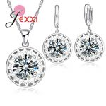 JEXXI Beautiful Hollow Sun Pendant Women Girls Fashion 925 <b>Sterling</b> <b>Silver</b> Jewelry Set With Cubic Zirconia <b>Earrings</b> Necklace