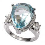 Simulated Aquamarine White Crystal Zircon 925 <b>Sterling</b> <b>Silver</b> <b>Ring</b> Factory price For Women Size 6 7 8 9 10 11 F1496