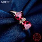 Heart <b>Ring</b> 925 <b>Sterling</b> <b>Silver</b> Women Charm Jewelry <b>Rings</b> Luxury Brand Double Heart Zircon <b>Rings</b>
