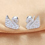 Lingdong Fashion brand 925 <b>silver</b> <b>earring</b> swan series crystal Micro mosaic exquisite ear stud free shipping