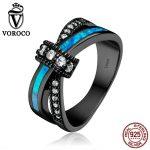 VOROCO Authentic 925 <b>Sterling</b> <b>Silver</b> Clear CZ Geometric Opal Gem Blue Finger <b>Rings</b> for Women Wedding Jewelry Gift VSR068
