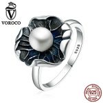 VOROCO Vintage 100% Genuine 925 <b>Sterling</b> <b>Silver</b> Lotus Leaf & Pearl Finger <b>Rings</b> for Women Vintage Fine Jewelry Gift VSR059