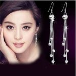 2016 New arrival high quality long tassels design 925 <b>sterling</b> <b>silver</b> female stud <b>earrings</b> wholesale jewelry