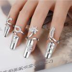 Adjustable Manicure Set Women <b>Rings</b> Armor Flower <b>Ring</b> Set Fingernail Aros Anillo 925 <b>Sterling</b> <b>Silver</b> <b>Rings</b> Luxury Women Jewelry