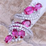 Incredible Red Cubic Zirconia White CZ 925 <b>Sterling</b> <b>Silver</b> <b>Ring</b> For Women Size 6 / 7 / 8 / 9 / 10 / 11 / 12 S0220