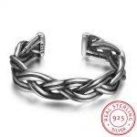 925 <b>Sterling</b> <b>Silver</b> <b>Rings</b> Open Adjustable <b>Ring</b> for Women Wave Shape Vintage Party <b>Silver</b> Jewelry For Girl(RI102694)