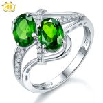 Hutang 1.57ct Natural Chrome Diopside & White Topaz <b>Ring</b> Solid 925 <b>Sterling</b> <b>Silver</b> Women's Gemstone Fine Jewelry 2017 New