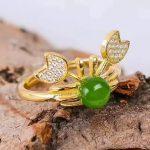 925 <b>silver</b> green Jasper <b>Ring</b> fashion gift for women jewelry Open <b>ring</b> Cute style fine Jewelry wholesale j060609agby
