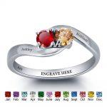 Personalized <b>Rings</b> 925 <b>Sterling</b> <b>Silver</b> Birthstone <b>Rings</b> Female Engrave Name Jewelry Best Gift For Mommy ( RI101791)
