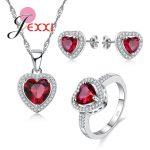 JEXXI 925 <b>Sterling</b> <b>Silver</b> Bridal Wedding Jewelry Set Lovely Red Heart Shiny CZ Crystal Women Girl Necklace Earring <b>Ring</b> Sets