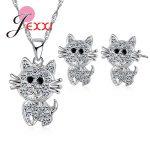 JEXXI Cubic Zirconia 925 <b>Sterling</b> <b>Silver</b> Cat Necklace Collar Stud Piercing <b>Earrings</b> Women Bride Party Anniversary Jewelry Sets