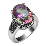 Shiny Rose Rainbow Crystal Zircon 925 <b>Sterling</b> <b>Silver</b> <b>Ring</b> Factory price For Women Size 6 7 8 9 10 11 F1490