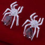 AE600 925 Jewelry <b>Silver</b> Plated Wholesale , Free Shipping <b>Earrings</b> for women , spider inlaid red stone /bfhajwoa axsajoza