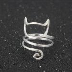 925 <b>Sterling</b> <b>Silver</b> Winding Cat Open <b>Rings</b> For Women Handmade Original Fashion Girl Prevent Allergy <b>Sterling</b>–<b>silver</b>-jewelry