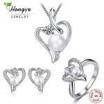 Hongye Romantic Heart <b>Sterling</b> <b>Silver</b> Jewelry Set Pearl Necklace & Earring&<b>Ring</b> For Women Girl Friend Wife Valentine's Day Gift