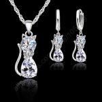 PATICO Women Jewellery Sets Genuine 925 <b>Sterling</b> <b>Silver</b> Cubic Zirconia Cat Kitty Necklace Pendant+Leverback <b>Earrings</b> Hot Selling