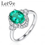 Leige Jewelry <b>Silver</b> Emerald <b>Ring</b> for Women Oval Cut Wedding Engagement Promise <b>Ring</b> Anniversary Christmas Gift Classic