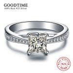 100% Pure 925 <b>Sterling</b> <b>Silver</b> Wedding <b>Rings</b> for Women Princess Cut Created Zirconia Engagement <b>Ring</b> Anniversary Jewelry GTR004