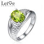 Leige Jewelry Natural Peridot <b>Ring</b> Green Gemstone Oval Cut <b>Sterling</b> <b>Silver</b> Engagement Promise <b>Rings</b> Anniversary Gift for Women