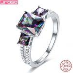 Hot Jrose 2 Color Engagement <b>Ring</b> 100% 925 <b>Sterling</b> <b>Silver</b> Rainbow & White CZ Finger <b>Ring</b> Women Luxurious Jewelry Brand New Gift