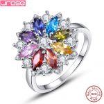 Jrose Brand New 2.11CT Purple Garnet Peridot 8 Colors Flower Solid 100% 925 <b>Sterling</b> <b>Silver</b> Gem Stone <b>Ring</b> for Woman Gift