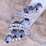 Shiny Rainbow Mystic White CZ 925 <b>Sterling</b> <b>Silver</b> <b>Ring</b> For Women Size 5 / 6 / 7 / 8 / 9 / 10 / 11 / 12 S0218