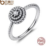 BAMOER 925 <b>Sterling</b> <b>Silver</b> Round Shape Radiant Elegance, Clear CZ Flower Finger <b>Rings</b> for Women ANNIVERSARY SALE 2018 PA7178