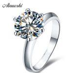 AINOUSHI New Classic Six Claw 2ct Sona Synthetic Gemstone Engagement <b>Rings</b> 925 <b>Sterling</b> <b>Silver</b> Promise <b>Ring</b> Wedding <b>Rings</b>