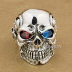 LINSION 925 <b>Sterling</b> <b>Silver</b> Titan Skull Red Blue CZ Stone Eyes Mens Biker Punk <b>Ring</b> <b>sterling</b>–<b>silver</b>-jewelry 8V805 US Size 7~15