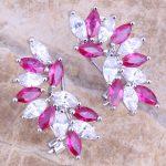 Stunning Red Cubic Zirconia White CZ 925 <b>Sterling</b> <b>Silver</b> Clip Huggie <b>Earrings</b> For Women S0236